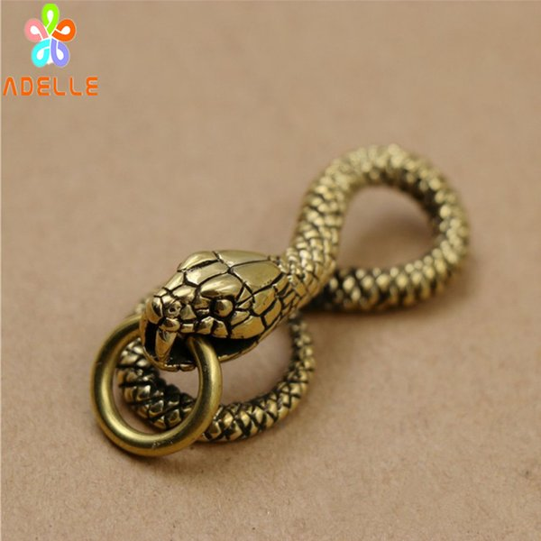 100% Solid Brass Vintage SNAKE Carving Handmade Keyring Car Accessory Jelwery Pendant Gift Finding DIY decor Free Shipping