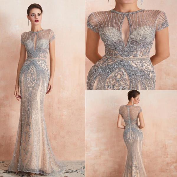 Gatsby 2019 Abiti da sera di lusso a sirena di cristallo con perline stupefacenti yousef aljasmi splendidi arabi veri abiti da ballo Moda da pista in stock