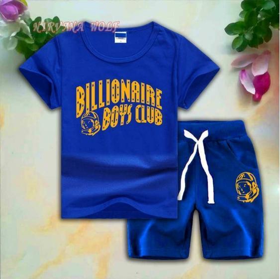 BB CLUB Kids Sets 1-7T Kids T-shirt Short Pants 2Pcs/sets Baby Boys Girls 95% Cotton Gold Letters Printing Style Summer Sets