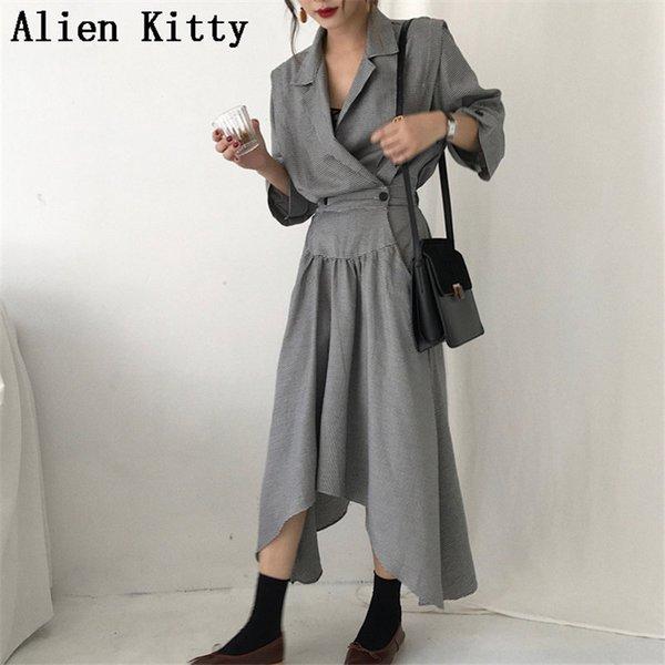 Alien Kitty Printemps Automne Nouveau Solide Vintage Taille Contrôlé Coupe-Vent Survêtement Femme Boutons Casual Trench-Coat Femmes