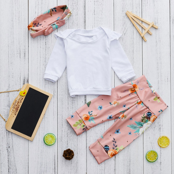good quality Baby Girls rompers Ruched Tops Shirt+Floral Print Pants Outfits Sets roupa de menina vetement enfant fille