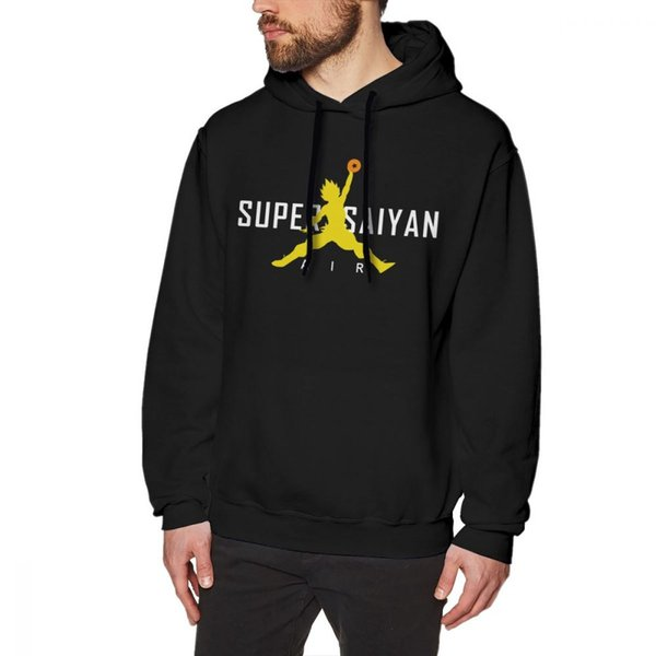 Dragon Ball Z Hoodie Air Super Saiyan Classic Hoodies Long Length Big Pullover Hoodie Cotton Black Warm Streetwear Mens Hoodies