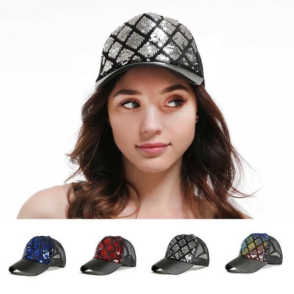 Neue frauen damenmode lässig glänzende pailletten baseballmütze pailletten glitter party cap clubwear