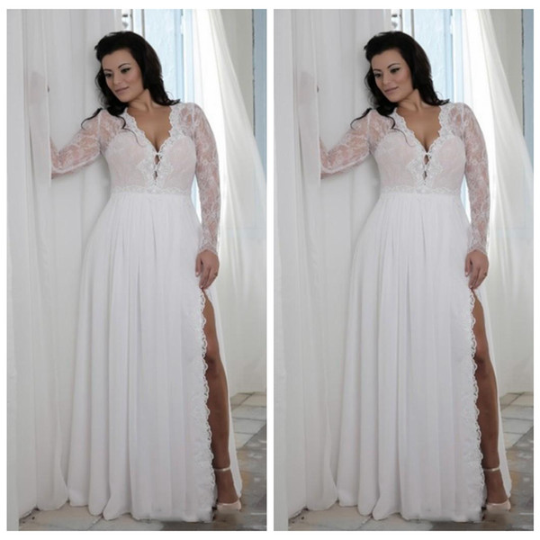 Plus Size Wedding Dresses A Line Illusion Long Sleeve Side Slit Lace Chiffon Backless robe de mariee Modest Country Wedding Bridal Gowns