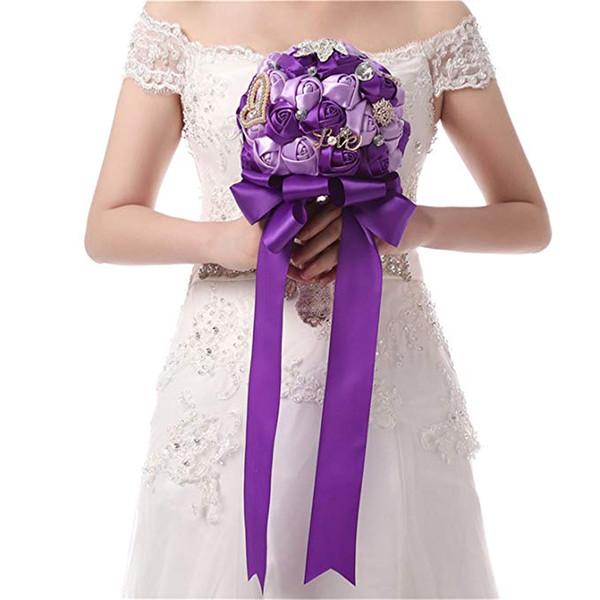 Artificial perla de cristal Ramos de novia Cascada púrpura Boda nupcial Flor Novias Broche hecho a mano Ramo De Mariage