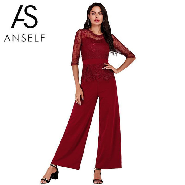 Lace Jumpsuit Women Rompers 2019 Summer Elegant Ladies Office Work Wear Overalls For Women Wide Leg Playsuit Tracksuit Long Pant MX190726