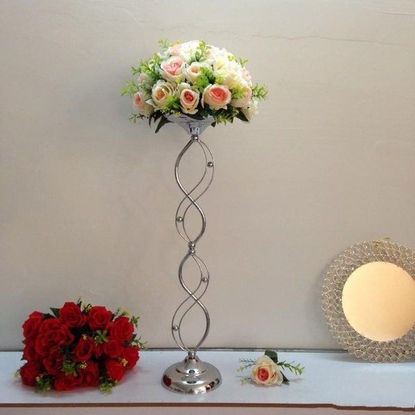 cheap elegant new designe Tall metal material silvery wedding pillar flower stand,vase centerpieces for aisle decoration