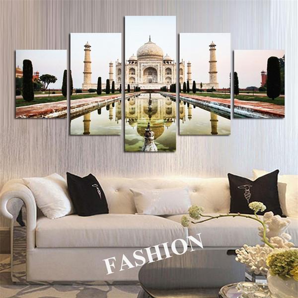 Simples Índia Taj Mahal Sombra, 5 Peças de Impressão de Lona HD Nova Decoração Para Casa Arte Pintura / Sem Moldura / Emoldurado