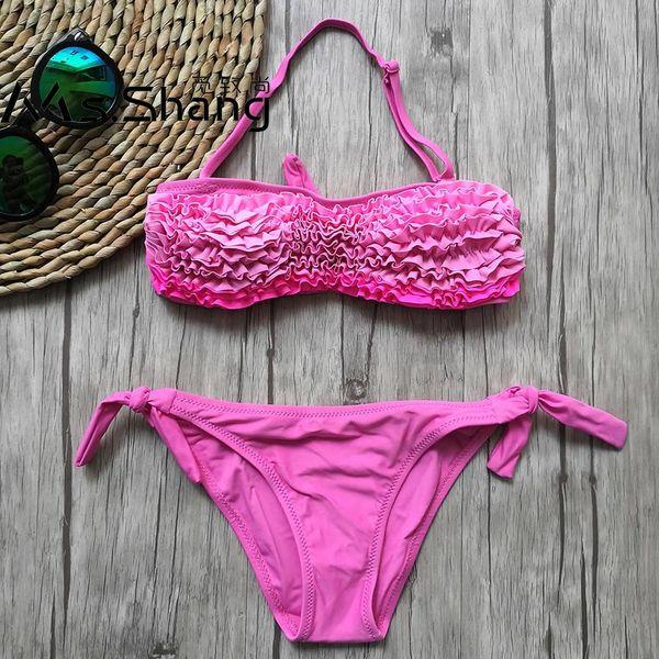 5-14 Ans Fille Maillot De Bain Enfants Tutu Adolescent Fille Bikini Halter Haut Maillot De Bain Enfant De Bain Porter Rose Enfants Maillots De Bain