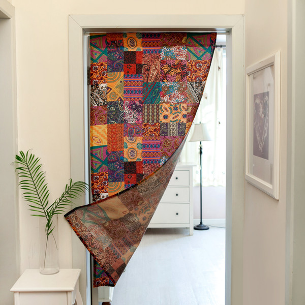 Cotton And Linen Bohemian Ethnic Style Door Curtain Partition Curtain Toilet Half Curtain Bedroom Not Contain Pole