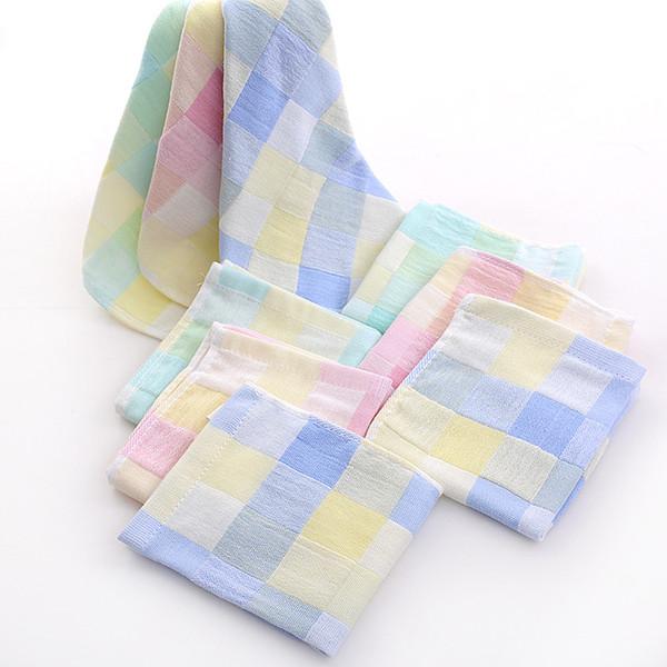 Color grid cotton scarf gauze small towel double infant child saliva towel newborn hand towel handkerchief
