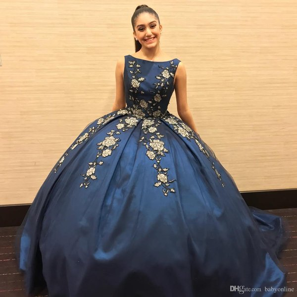New Gold Appliques Dark Blue Quinceanera Dresses For Juniors Sweet 16 Vestidos de 15 Anos Ball Gown Prom Evening Dresses Formal Wears