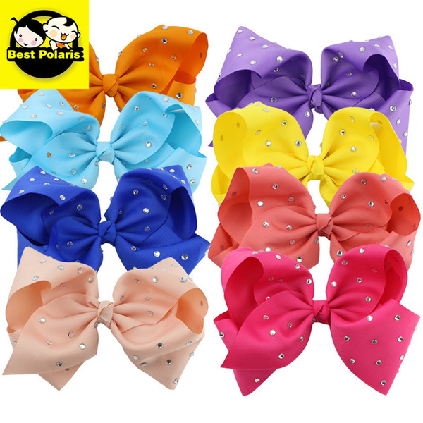Hot Selling Rhinestone Barrettes 2019 Baby Hair Accessories Kids Hairbands 20 colors Cute Girls Hair Bows