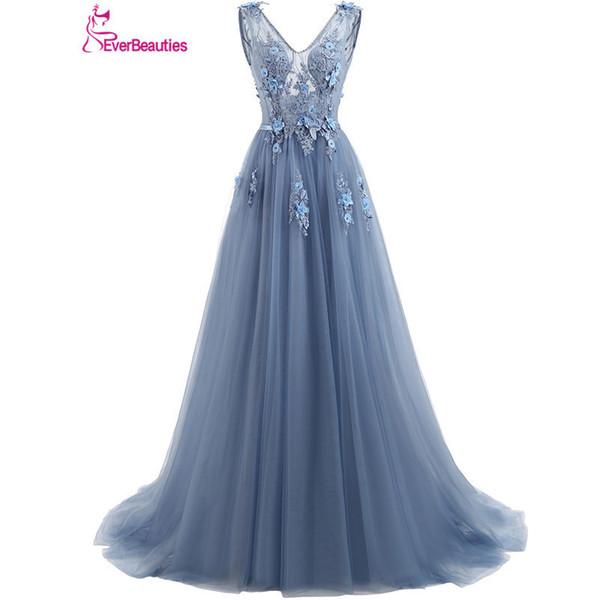 Elie Saab Blue Evening Dresses 2019 Plus Size Tulle Appliques Long Formal Dresses Gowns V Neck Lace Up Sleeveless Robe De Soiree Y19051401