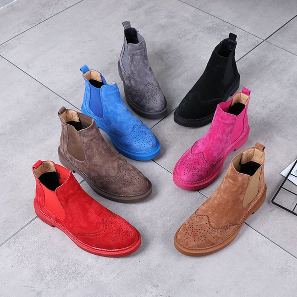 Spring Carved Genuine Leather Women's Boots Martin Boots Women's Shoes Ankle Boots Preppy Style Flat Heels Candy Colors