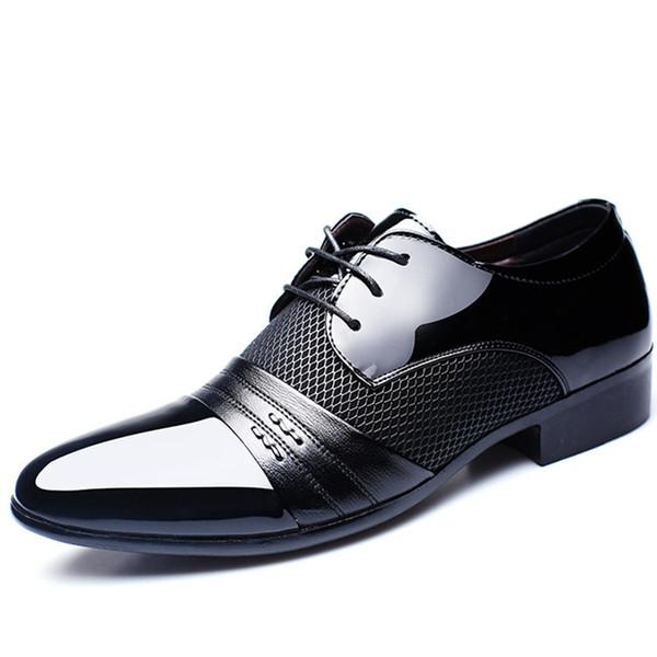 2018 Men's Business Dress Shoes Fashion Patent Leather Lace Up Footwear Male Plus Size Shoes