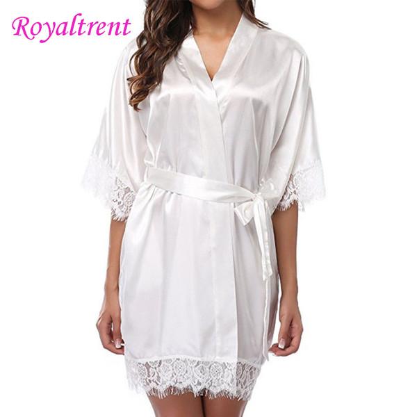 Sexy Ice Silk Robe Ladies Solid Color Nightgown Lace-Up Kimono Pajamas Ladies Sexy Kimono Pajamas Black/White/Red