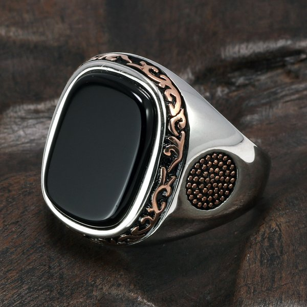 Real Pure Mens Rings Silver S925 Retro Vintage Turkish Rings For Men With Natural Black Onyx Stones Turkey Jewelry J190627