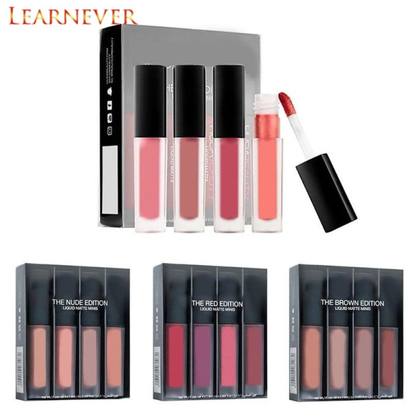 Learnever 4pcs/Set Velvet Liquid Lipstick Moisturzing Lasting Nude Lip Gloss Make Up Lipstick Lip Lint Pigment Scrub Lipgloss