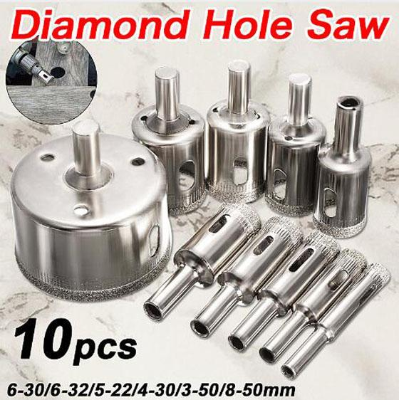 8-50mm Diamond Coated Core Hole Saw Drill Bits Tool Cutter For Tiles Marble Glass Granite Drilling Best Price