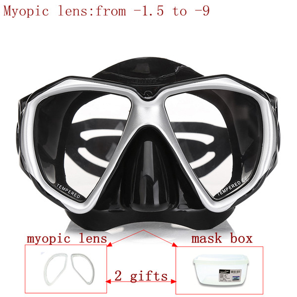 Prossional diving mask for nearsighted divers and snorker optical lens scuba mask tempered glass myopia lens dive for adult