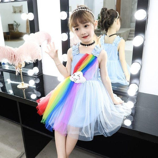 Retail kids designer dress girls sleeveless rainbow ruffle tulle fairy princess dress baby girl dresses dancewear children boutique clothes