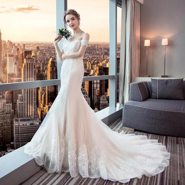 b9b7427ea0 Muy asequible precio fuera del hombro elegante encaje afilado vestidos de  novia para la venta de