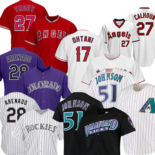top popular 28 Nolan Arenado 27 Mike Trout 17 Shohei Ohtani Baseball Jerseys 51 Randy Johnson 44 Paul Goldschmidt Baseball Jerseys 2020