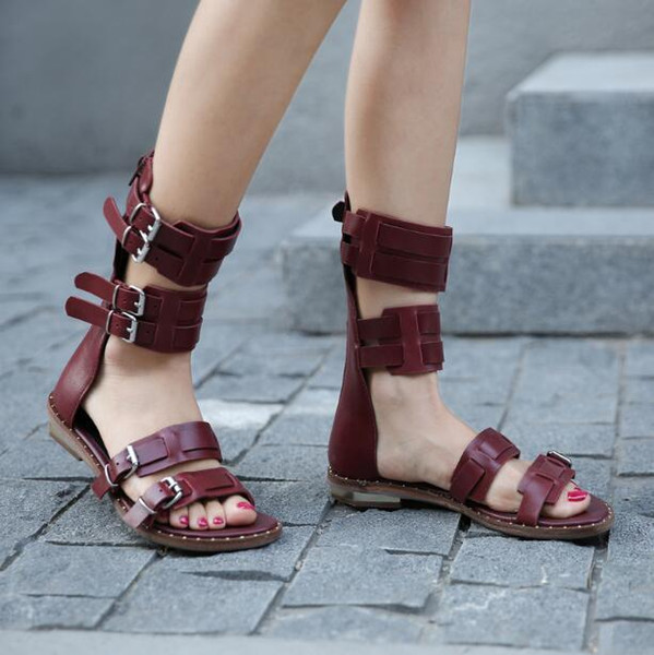 all-match flat sandals women summer red wine/black/yellow rome a word buckles woman retro strap buckle short cool boots lady