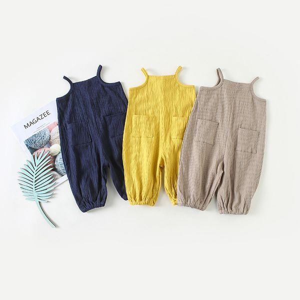 INS baby kids Girl clothing romper 100% cotton Sleeveless Solid Color Suspender design Summer romper