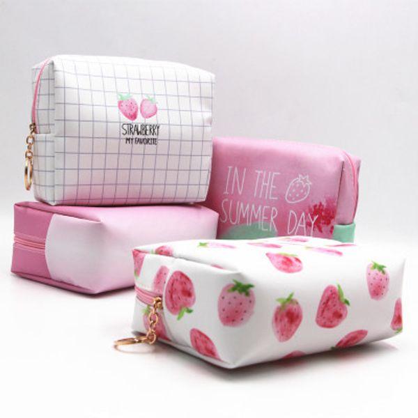 Fresa bolsas de cosméticos para las mujeres bolsas de lavado de impresión de la moda diseñador de la señora impermeable compone el bolso bolsa de almacenamiento de cosmética para el viaje