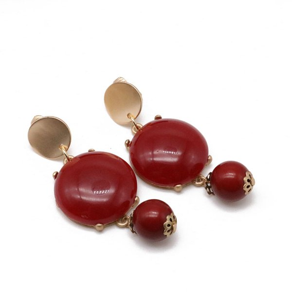 Free Shipping Red Gray Color Acrylic Beads Charm Sweet Clip Earring