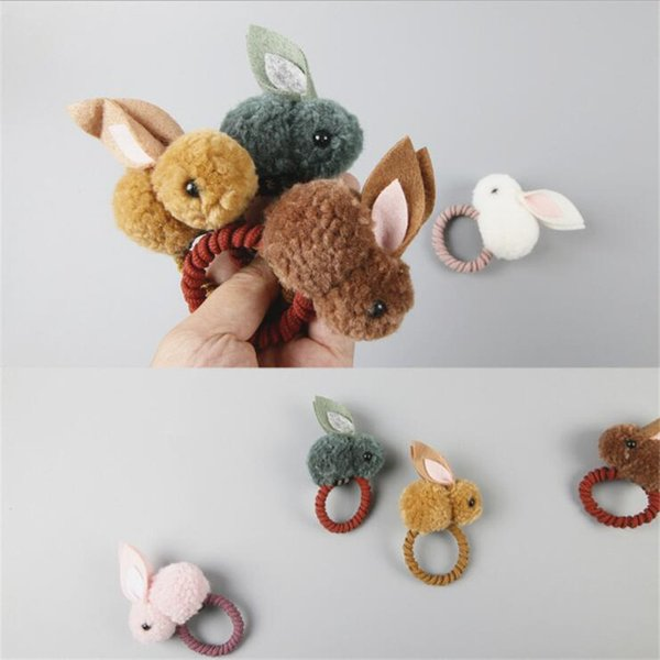 New Kawaii Plush Rabbit Bunny Ears Children Scrunchies Girls Kids Elastic Hair Rubber Bands Rope Accessories For Girls Headdress C19021601