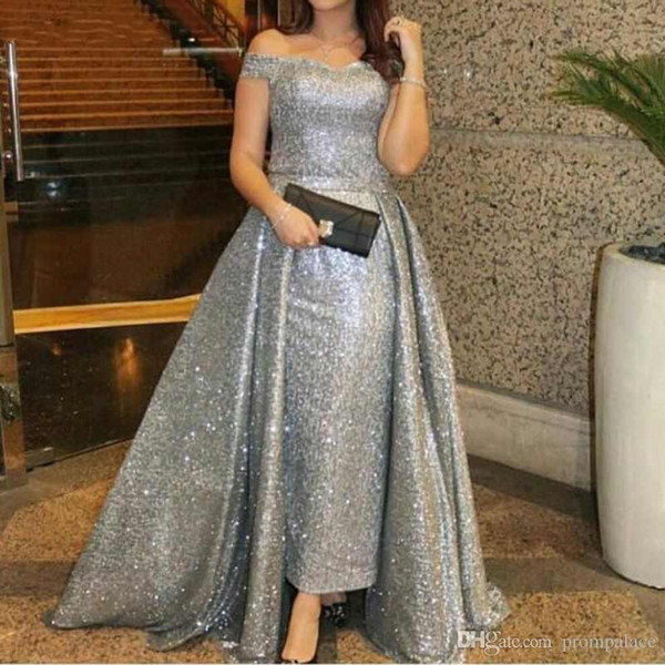 Silver Sequined Mother Of The Bride Dresses Evening Gowns Plus Size ff Shoulder Capped Sleeveless Prom Gowns Mother's Party Dresses