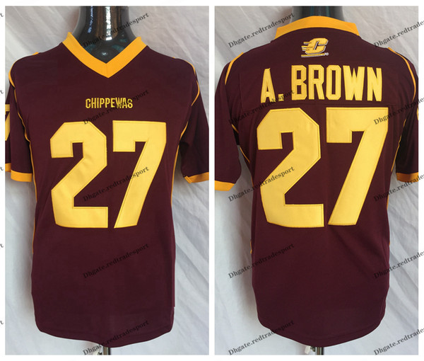 Antonio Brown College >> Vintage Central Michigan Chippewas Antonio Brown College Football Jerseys 27 Antonio Brown A Brown University Football Shirts Canada 2019 From