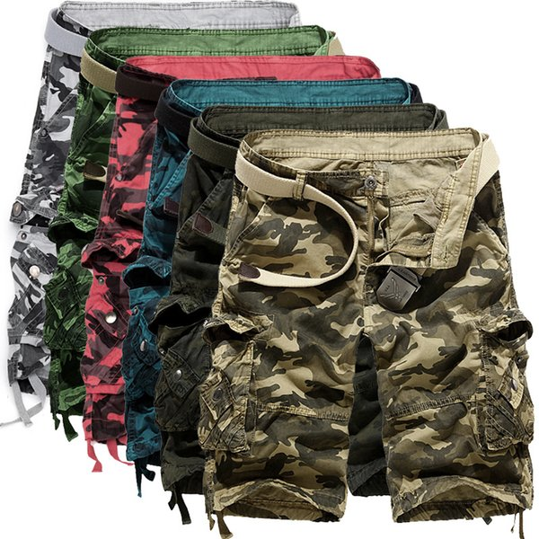 Men Camouflage Cargo Shorts New Brand Male Army Loose Cargo Pants Men Casual Work Short Pants Plus Size No Belt 29 -38