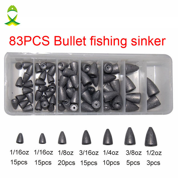 sinker 83pcs Lead Fishing Sinker For Plastic Worm Texas Rig Carp Fishing Bullet Shaped Weights Casting Sinkers Set With Box