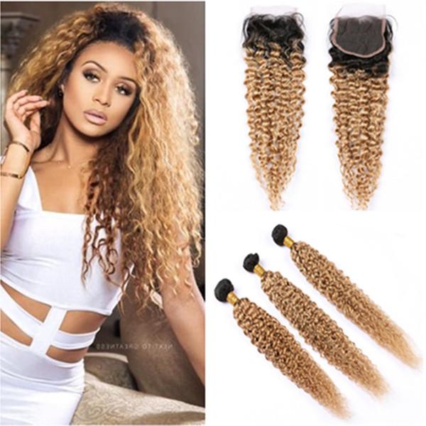 # 1B 27 Ombre de l'homme Bundles Cheveux avec fermeture Kinky Curly Ombre Honey Blonde Dentelle Fermeture avec Tissages sombres racines Ombre Hair Extensions