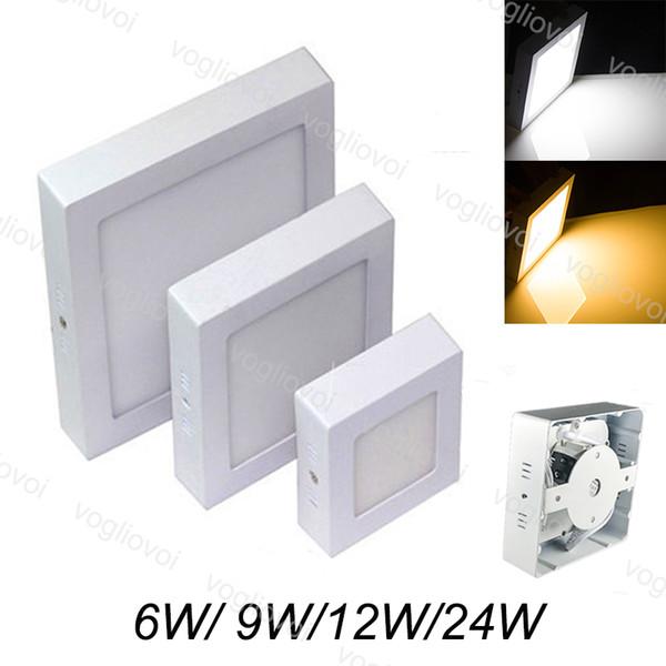 Downlight carré monté en surface 12W 18W led panneau lumineux SMD2835 cercle plafond lampe vers le bas de la lampe cuisine salle de bains éclairage AC 110V 240V DHL