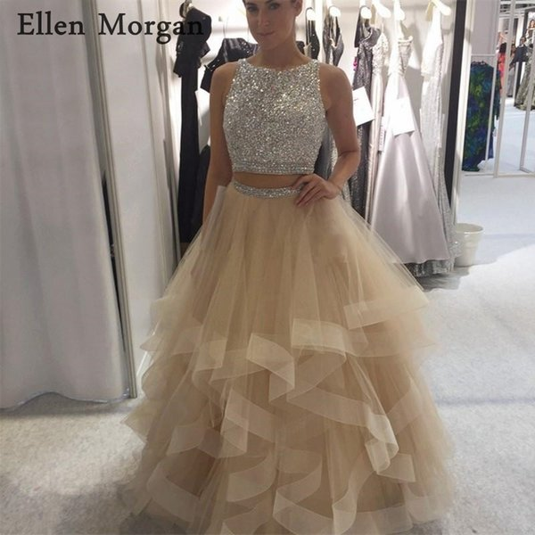 2 Pieces Champagne Prom Dresses for Girls 2018 Beaded Boat Neck Backless Floor Length Beads Tulle Vestido De Festa Party Gowns
