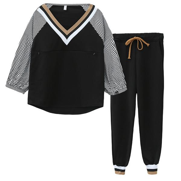2019 spring nursing cothes set long sleeve v-neck stripe lactation shirts+drawstring waist pants two-piece suit breastfeeding