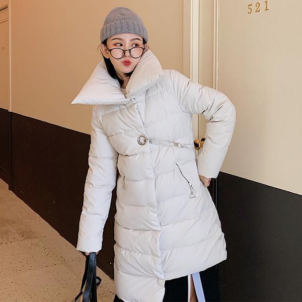 Asymmetry Parkas Winter Women's Long Black Coats Buckle Zipper Warm Jackets Female White Outerwear Korean Clothing Ladies Coat