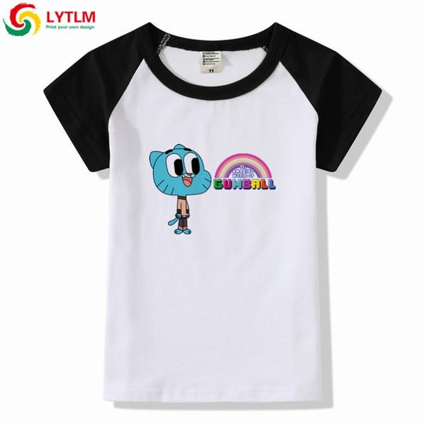 LYTLM The Amazing World Of Gumball Dibujos animados Funny T Shirt Niños de algodón de manga corta Niños Chicas Verano Tops Baby Girl camiseta