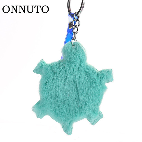 Plush Turtle Keychain Cute Hair Ball Keyring Bag Pendant Decorative Car Keychain Mobile Phone Accessories Children's Party Gift
