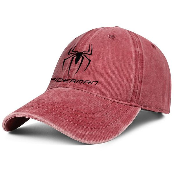 Spiderman Logo black spider red Men and women Denim cap wash dad hat styles custom vintage Back Closure Dad caps