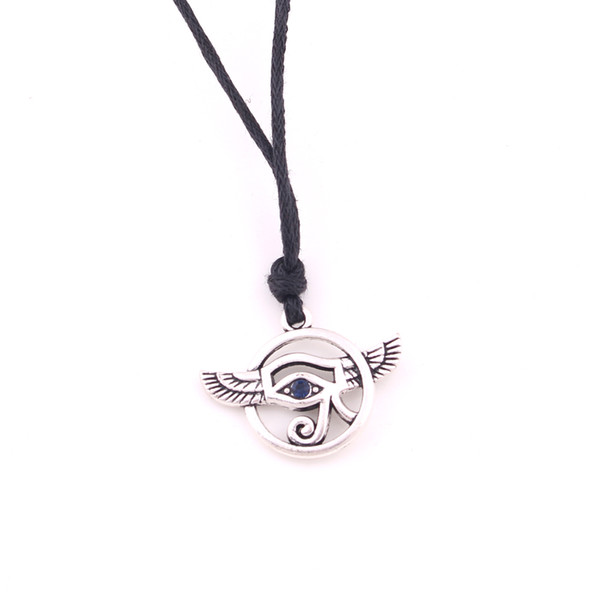 Vintage Silver Plated Egyptian Eye Of Horus with Synthetic Blue Lapis Men's Necklace Egyptian Sacred Amulet Religious Jewelry