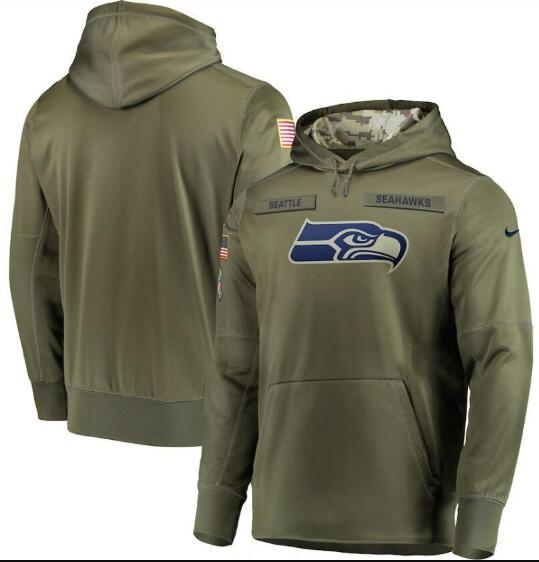 2019 Hommes Seattle Sweats Seahawks Salut to Service Sideline Therma Performance Pull À Capuche Olive