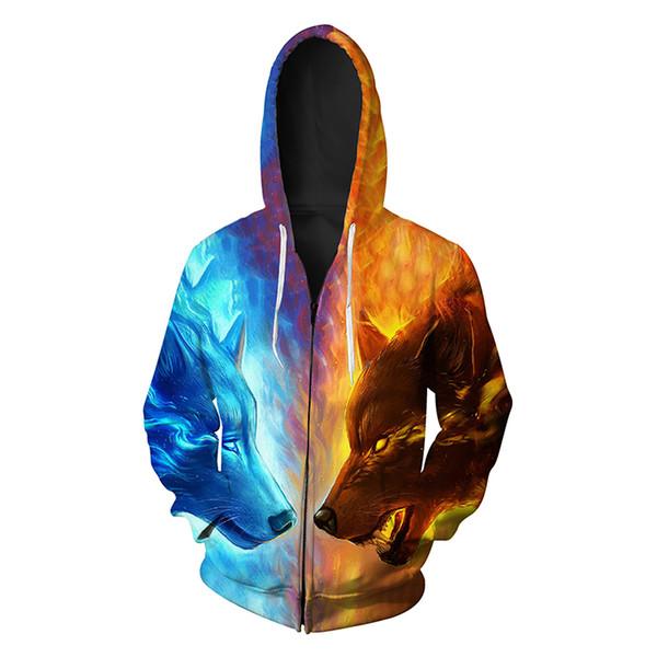 Men Zipper Hoodie Ice Fire Wolf Head 3D Full Print Man Zip Hooded Sweatshirt Unisex Casual Hoodies Long Sleeves Sweatshirts Tops (R418)