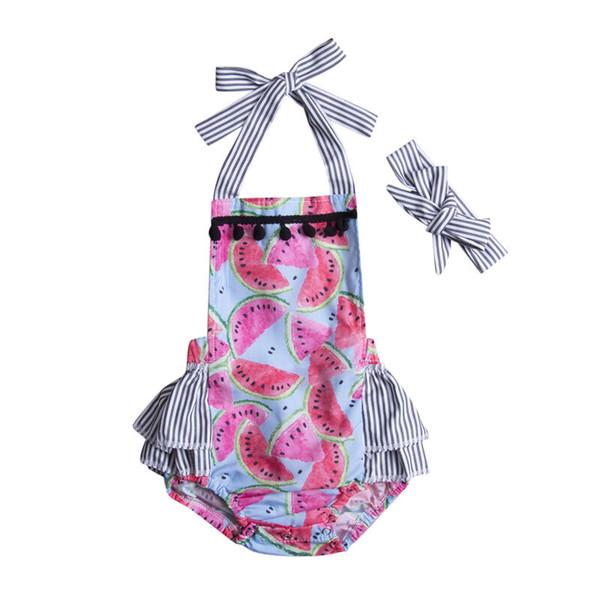 Pudcoco pagliaccetto 2pcs Neonato Bambino Bambini ragazze anguria pagliaccetto maniche tuta + fascia Outfits Clothes Set