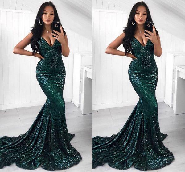 Koyu Yeşil Bling Bling Mermaid Gelinlik Modelleri Derin V Boyun Payetli Kat Uzunluk Abiye giyim Örgün Elbise Abendkleider Zarif Abiye